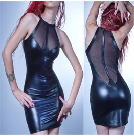 Dark Forest Sexy Latex See Through Bodycon Dress Black Womens