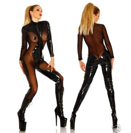 Bodysuit Latex Playsuit Faux Leather Black