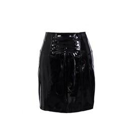 Wet Look High Waist Lates Faux Leather Skirt Black