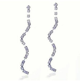 Clear Sterling Silver Crystal Rhinestone Bridal Long Swirl Drop Earrings