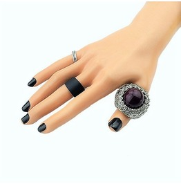 Royal Gemstone Bali Filigree Design Silver Unisex Dome Cut Amethyst Ring