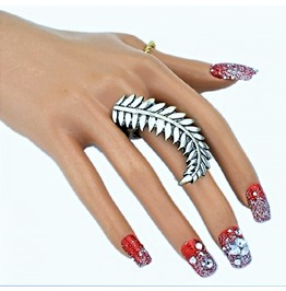 Bohemian Fashion Retro Sterling Antique Silver Delicate Feather Leaf Ring