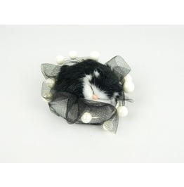 Headpiece, Fascinator Hair Accessory With Black Cat, White Beads And Veil