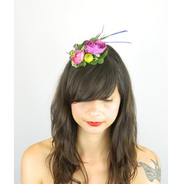 Fascinator Headpiece Cocktail Hat Feathered Bird And Flowers In Purples