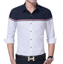Patchwork Long Sleeve Casual Dress Shirt Men