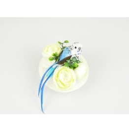 Headpiece Fascinator Cocktail Hat With Blue Feathered Bird And Silk Flowers