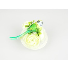 Headpiece Fascinator Cocktail Hat With Green Feathered Bird And Flowers
