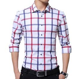 Big Squares Plaid Long Sleeve Business Long Sleeve Shirt Men