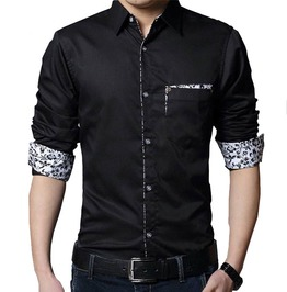 Solid Color Long Sleeve Men's Shirt With Floral Patchwork Pocket And Cuffs