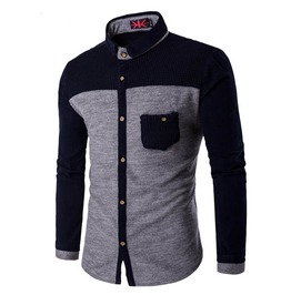 Patchwork Long Sleeve Slim Fit Casual Dress Shirt Men