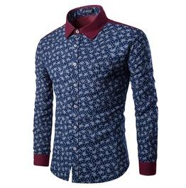 Bandana Print Patchwork Long Sleeve Slim Fit Dress Shirt Men