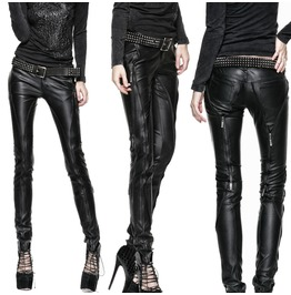 Women Punk Style Grained Leather Pant Women Gothic Trouser With Zipper Deco