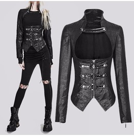 Women Gothic Black Leather Jacket Steampunk Slim Chest Vintage Spliced Effe