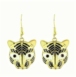 Fashion Retro Crystal Tiger Eyes Gold Tone Pewter Tiger Head Drop Earrings