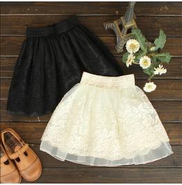 Harajuku Tutu Skirt Lace Embroidery Cute Bottom White Black