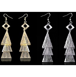 Multilayer Triangle Pyramid Gold Silver Plated Tassel Dangling Earrings