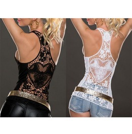 Sexy Women Summer Lace Vest Top Sleeveless Blouse Casual Tank Tops T Shirt