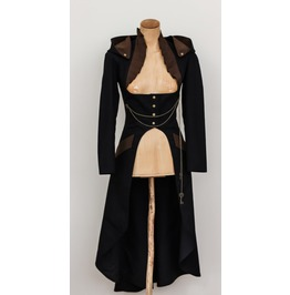Women Steampunk Hooded Coat Black Gothic Steampunk Victorian Black Frock