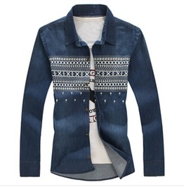 Retro Washed Stitch Print Long Sleeve Denim Shirt Men