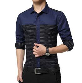 Polka Dot Slim Fit Long Sleeve Casual Dress Shirt Men