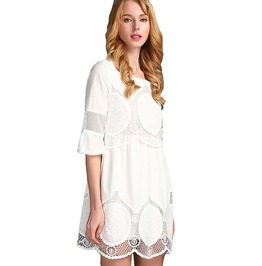 Women's Summer Above Knee Mini Cotton Sexy Dress With Lace