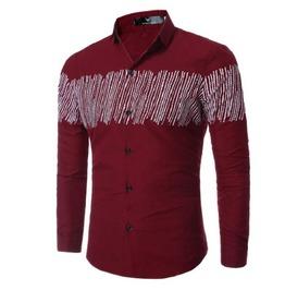 Stripe Straw Print Slim Fit Long Sleeve Cotton Dress Shirt Men