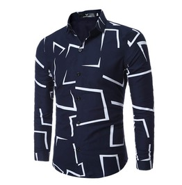 Square Jig Saw Printed Slim Fit Long Sleeve Dress Shirt Men
