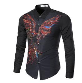 3 D Print Colorful Phoenix Slim Fit Long Sleeve Dress Shirt Men Plus Size