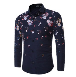 Floral Print No Iron Slim Fit Long Sleeve Dress Shirt Men