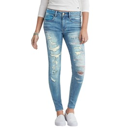 Ladies High Waist Bleach Ripped Stretch Denim Skinny Jeans