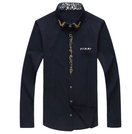 Solid Color Embroidered Slim Fit Long Sleeve Cotton Dress Shirt Plus Size