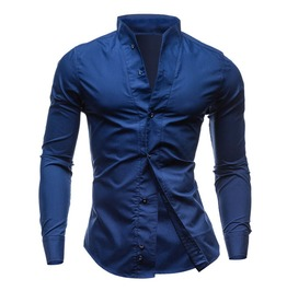 Stand Collar Slim Fit Solid Long Sleeve Dress Shirt Men
