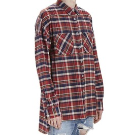 Flannel Plaid Oversize Long Sleeve Dress Shirt