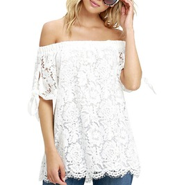 Summer Sexy Women's Off Shoulder Blouses Lace Crochet Tops