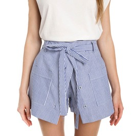 Women's Summer Striped High Waist Culotte Loose Cotton Skirt Shorts