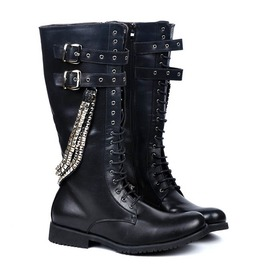 Pu Leather Metal Punk Mid Leg Military Motorcycle Boots