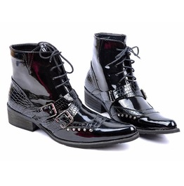 Pointed Toe Patent Leather Rivet Military Motorcycle Ankle Boots