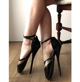 18cm See Through Clear Solid Two Tone Fetish D'orsay Mary Janes Ballet Heel