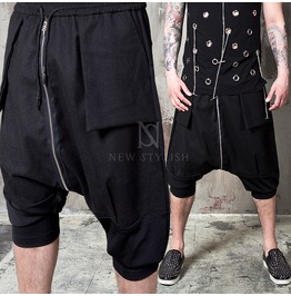 Long Center Zippered Black Baggy Drawcord Crop Pants 141
