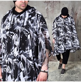 Artistic Pattern See Thru Hooded Poncho 144