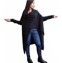 Black Post Apocalyptic Tunic Tops,Cardigan Asymmetrical Blouse T B168