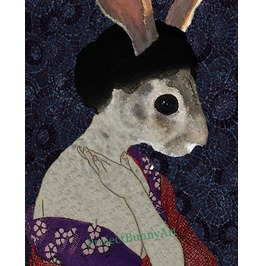 Beautiful Geisha Bunny Mixed Media