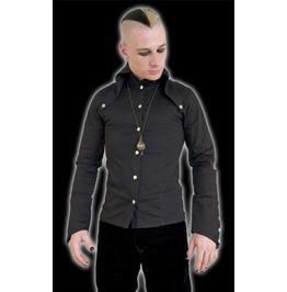 Mens Black Long Sleeved Button Up Goth Dress Shirt W Pointed Vamp Lapels