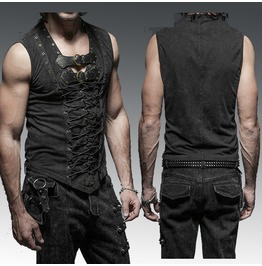 Men Steampunk Casual T Shirt Men Gothic Rock Fashion T Shirt Top