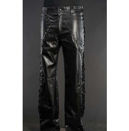 Mens Black Vegan Faux Leather Trousers Lace Up Fetish Goth Rocker Pants