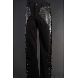 Mens Black Boot Cut Lace Up Fetish Goth Rocker Pants Studded Spike Trousers