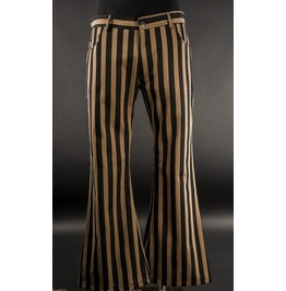 Mens Black Brown Striped Flared Steampunk Pants 5 Pocket
