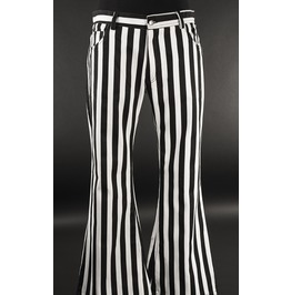 Mens Black White Striped Flared Beetlejuice Pants 5 Pocket $6 Shipping