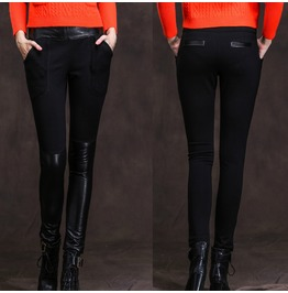 Women Fashion Pant Slim Fit Sheepskin Leggings Gothic Leather Leisure Feet