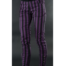 Ladies Black Purple Striped Skinny Pants 5 Button Trousers Cheap Shipping